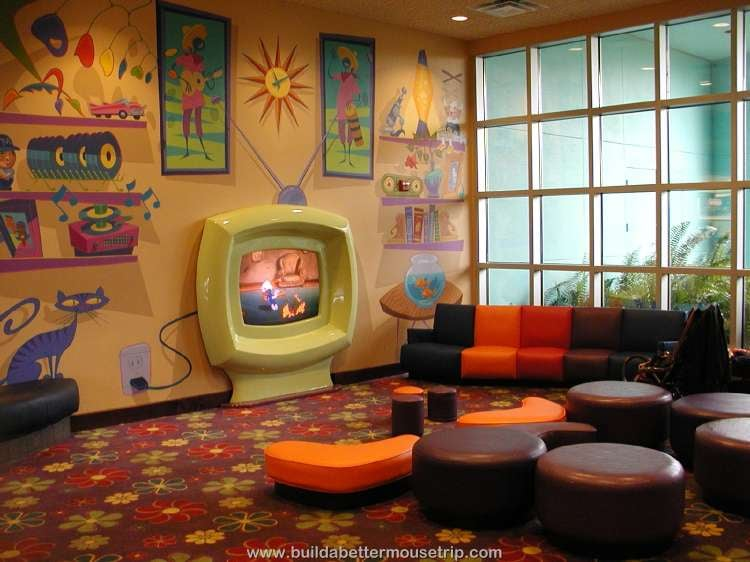 Cartoon watching area in the lobby at Disney's Pop Century Resort