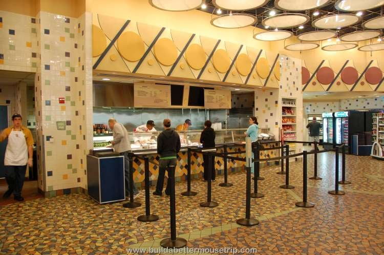 Hot entree station in the food court at Disney's Pop Century Resort