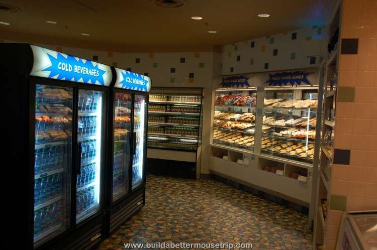Pastries, sandwiches, salads, fruit and beverages available in the Grab and Go section of Everything Pop / Disney's Pop Century Resort