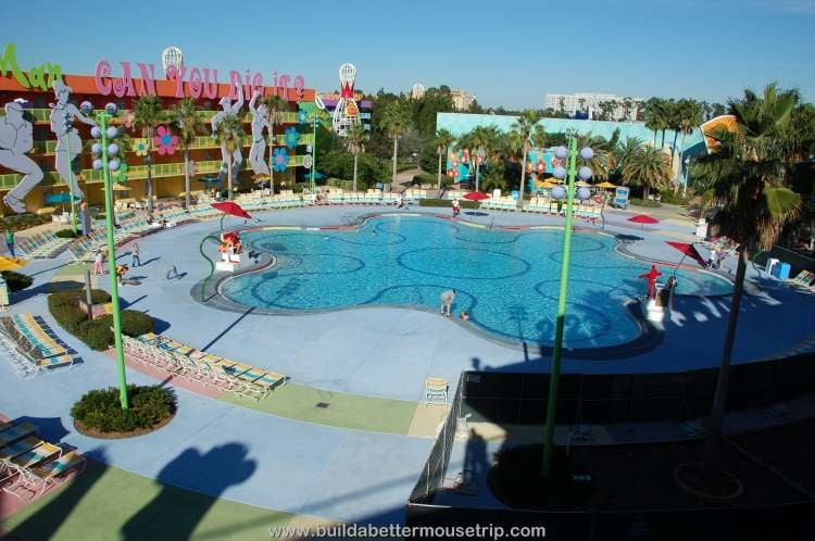 Hippy Dippy Pool in the courtyard of the 60's area at Disney's Pop Century Resort