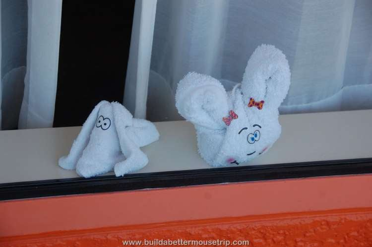 Mousekeeping sometimes makes towel animals for the guests at Disney's Pop Century Resort