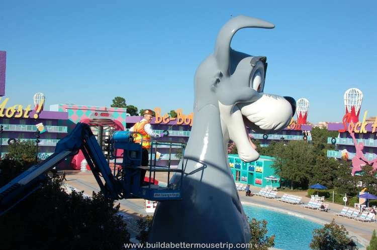 Maintenence team paints Tramp, of Lady and the Tramp, at Disney's Pop Century Resort