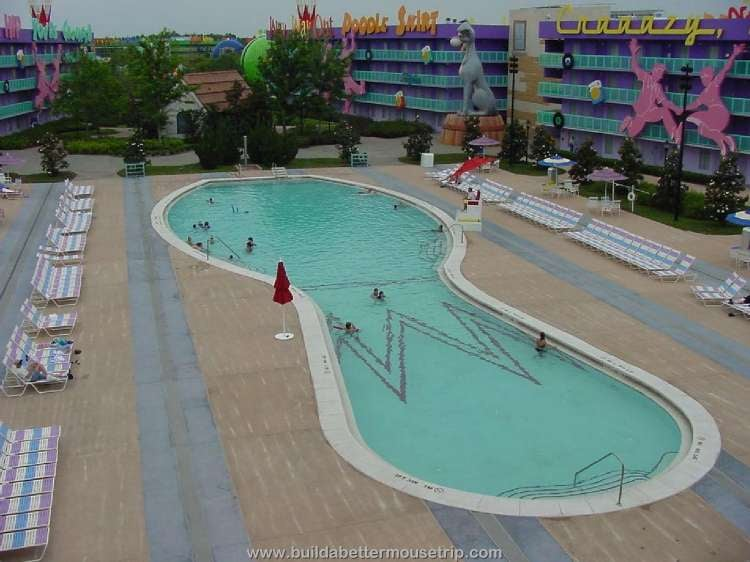 The Bowling Pin pool in the 1950s area at Disney's Pop Century Resort