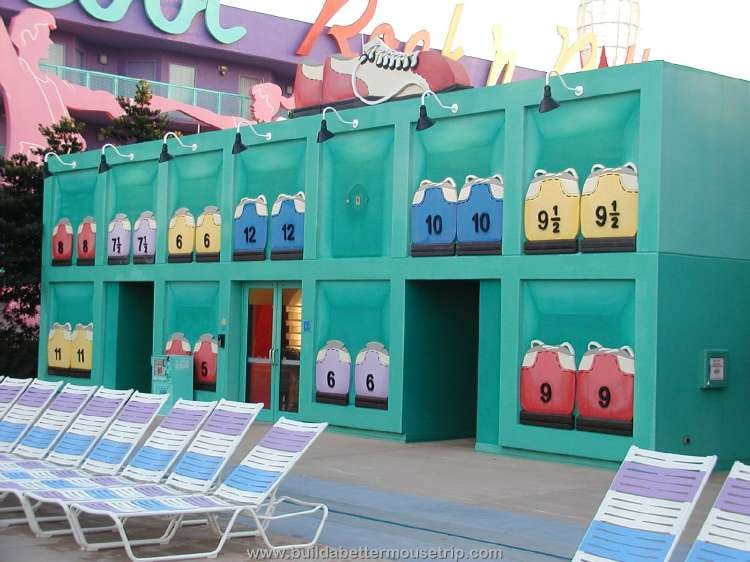 Bathhouse, changing rooms & showers available by the pool at Disney's Pop Century Resort
