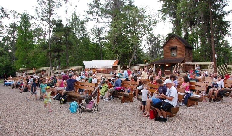 Seating for the campfire sing-along & outdoor movie at Disney World