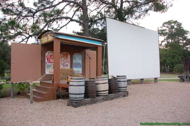 Disney's Fort Wilderness Campfire Sing-Along stage and Outdoor Movie Screen