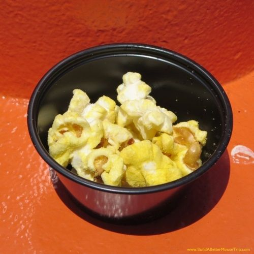 Free tasting sample of Dill pickle flavored popcorn from the PopCone in Cars Land at Disney California Adventure park / Disneyland.