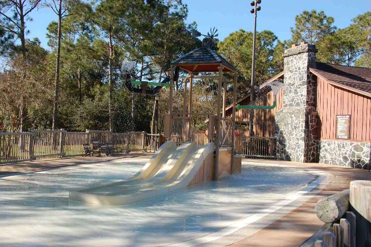 Children's water play and splash zone area at Disney's Fort Wilderness Resort and Campground
