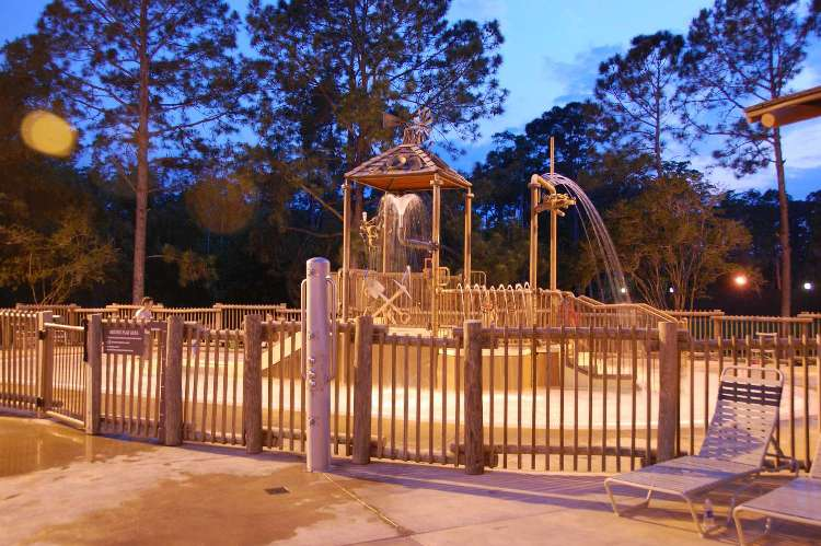 Children's water play area at the Meadow Swimming Pool at the Fort Wilderness campground at Disney World.