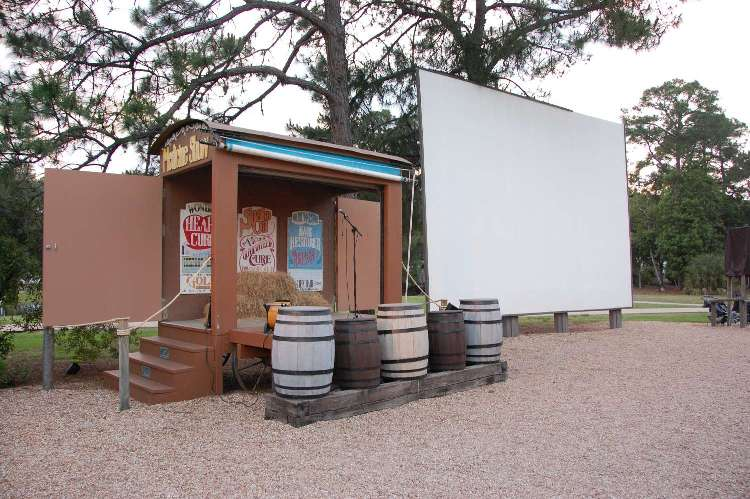 Stage and movie screen for the nightly Chip 'n Dale Campfire Sing-long and Movie UNder the Stars (free) at Disney's Fort Wilderness Resort & Campground.