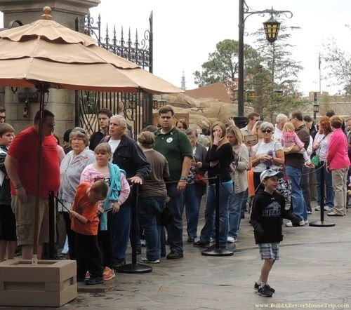 Line outside of Be Our Guest restaurant in Fantasyland at the Magic Kingdom - Walt Disney World Resort / Florida.