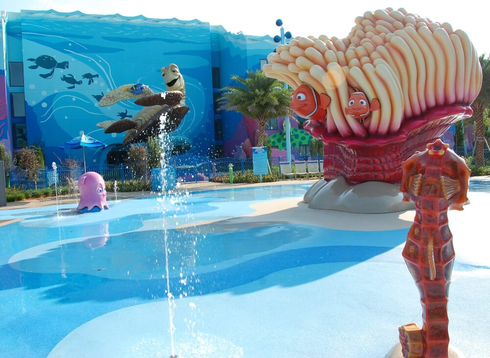 Schoolyard Sprayground Wet Play AREA - ONE OF THE BEST CHILDREN'S Splashzones  IN THE DISNEY WORLD VALUE RESORT CATEGORY.