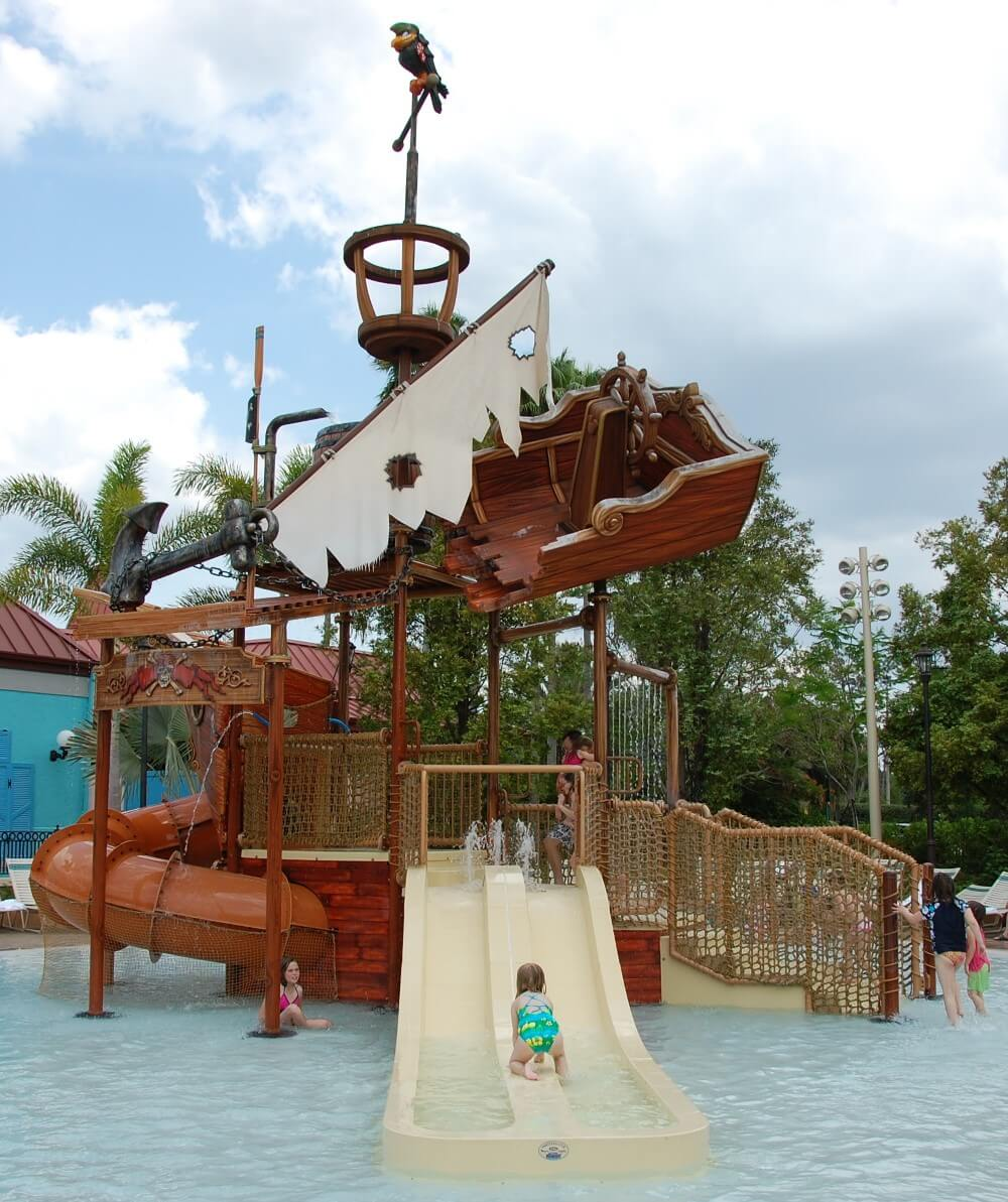 Pirate Shipwreck wet play area for children at Disney's Caribbean Beach Resort - One of the best splash zones of the Disney World hotels, moderate resort category.