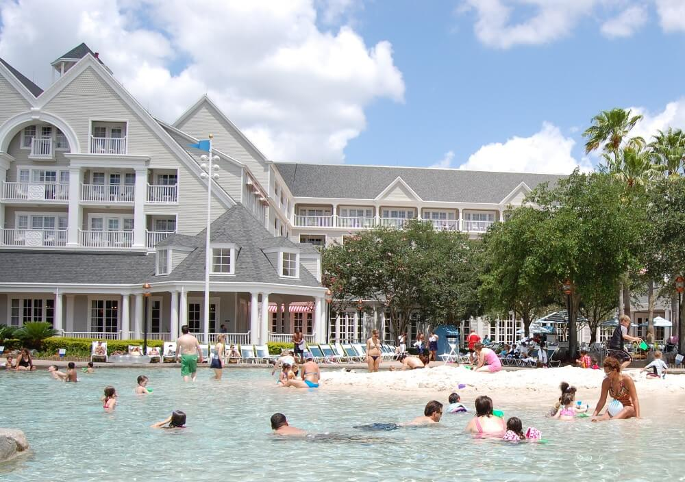SAndy beach AREA IN the Stormalong Bay Sand bottom poolAT DISNEY'S Yacht and beach Club RESORTs.