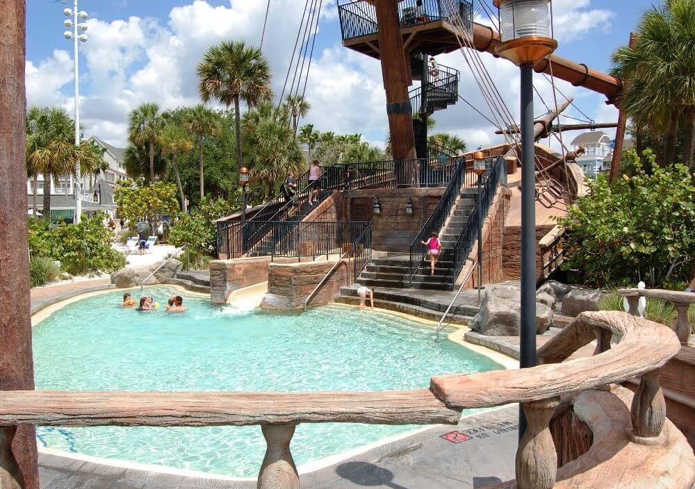 Children's waterslide and wading Pool IN THE STORMALONG BAY SAND BOTTOM POOL  AT DISNEY'S YACHT AND BEACH CLUB RESORTS.