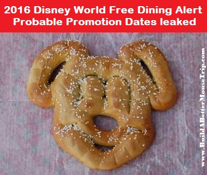 Disney World Free Dining 2016 - Computer Glitch Provides Likely Dates for this year's promotion.  For full details, see: http://www.buildabettermousetrip.com/visiting-disney-world/2016/4/14/disney-world-free-dining-2016-computer-glitch-provides-possible-dates