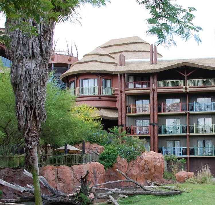"Disney's Animal Kingdom Lodge has rooms with balconies that overlook the pool or the savanna areas with African animals.  The least expensive rooms are ""standard view"" rooms that overlook the rooftops and parking areas."