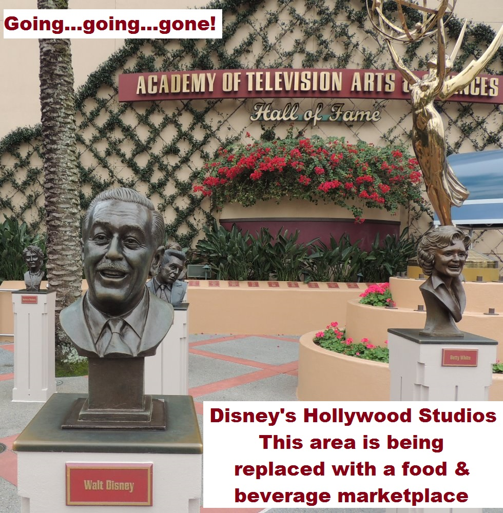 The Academy of Television Arts & Sciences Hall of Fame Exhibit has permanently closed at Disney's Hollywood Studios and is being replaced with a food and beverage marketplace.  Walt Disney World Resort - October 2016