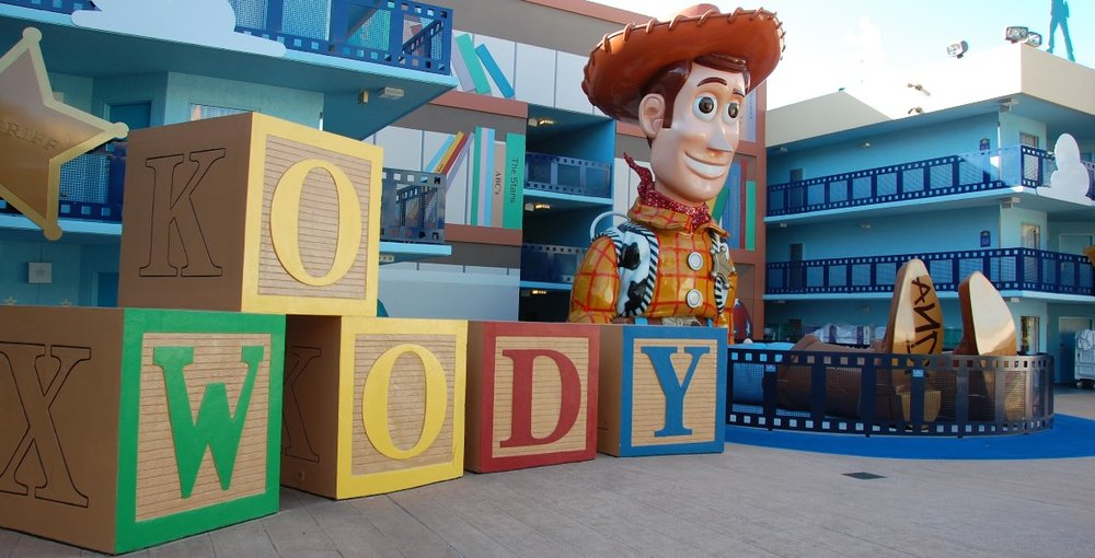 Woody in the Toy Story section  at Disney's All-Star Movies Resort