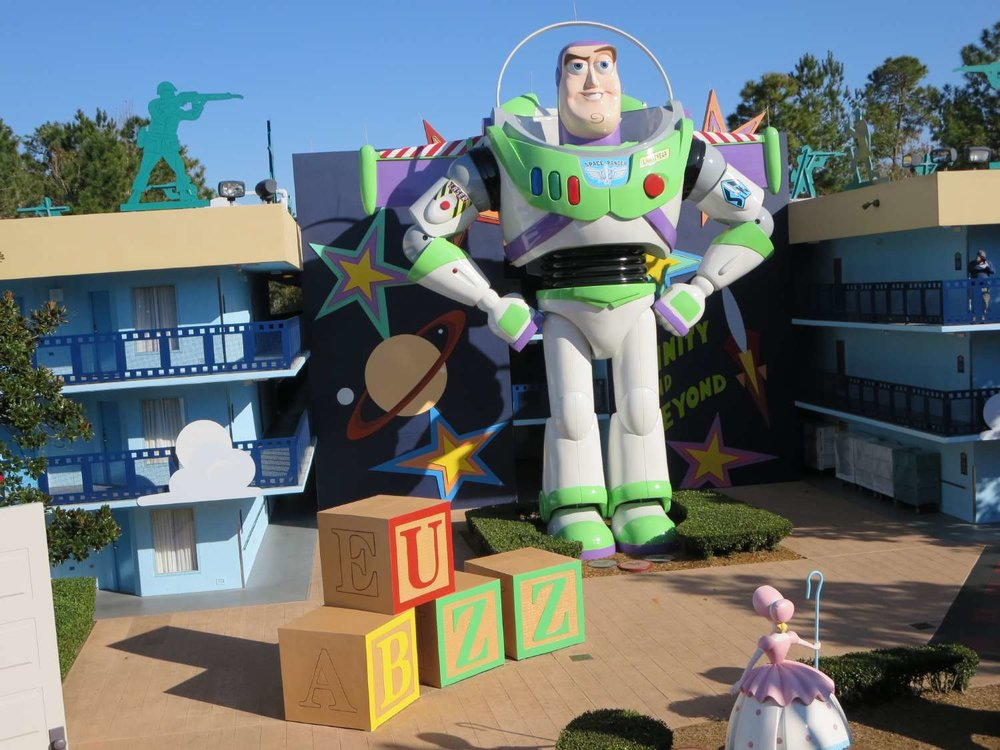 Buzz Lightyear building in the Toy Story section  at Disney's All-Star Movies Resort
