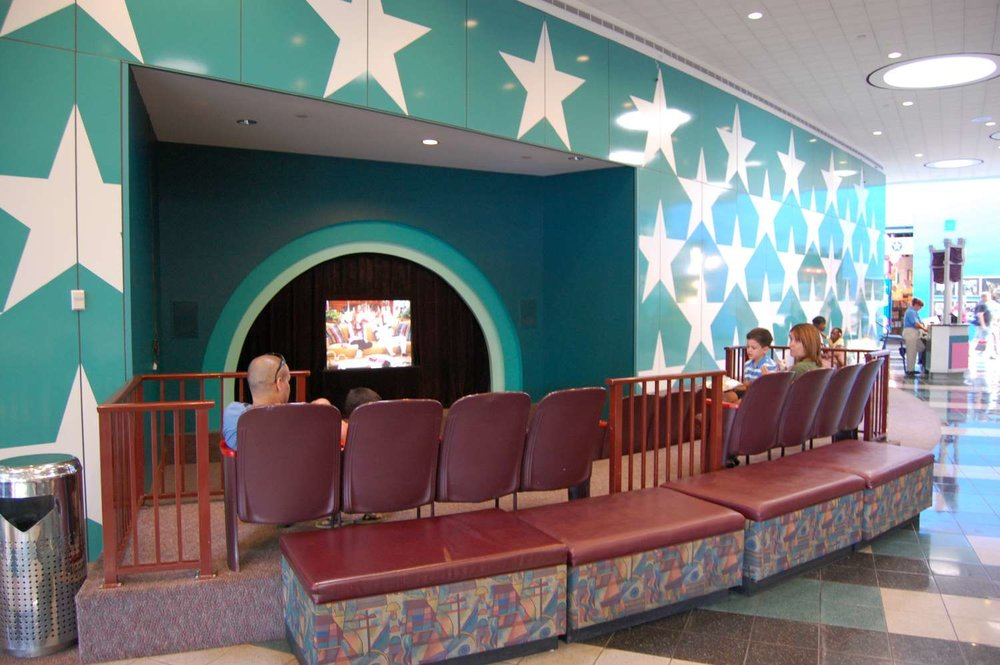 Cartoon area in the lobby of Disney's All-Star Movies Resort