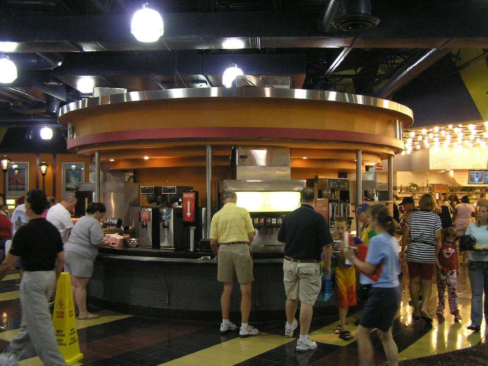 Beverage station in the World Premiere Food Court at Disney's All-Star Movies Resort