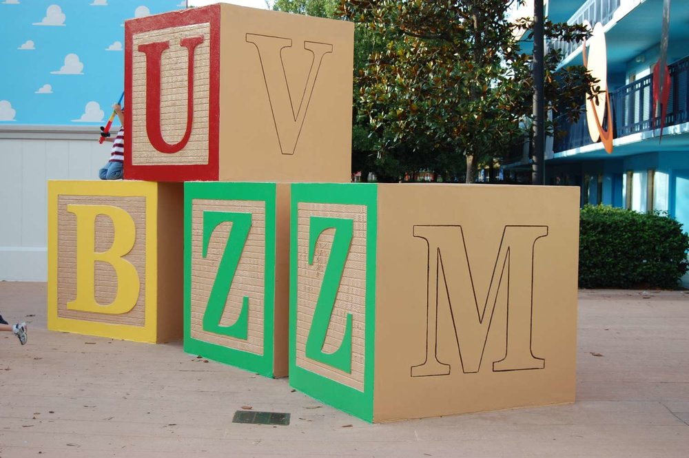 Toy Story buildings at Disney's All-Star Movies Resort