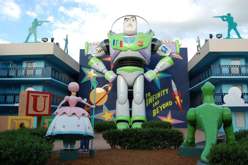 Giant Buzz Lightyear statue in the Toy Story area of  at Disney's All-Star Movies Resort