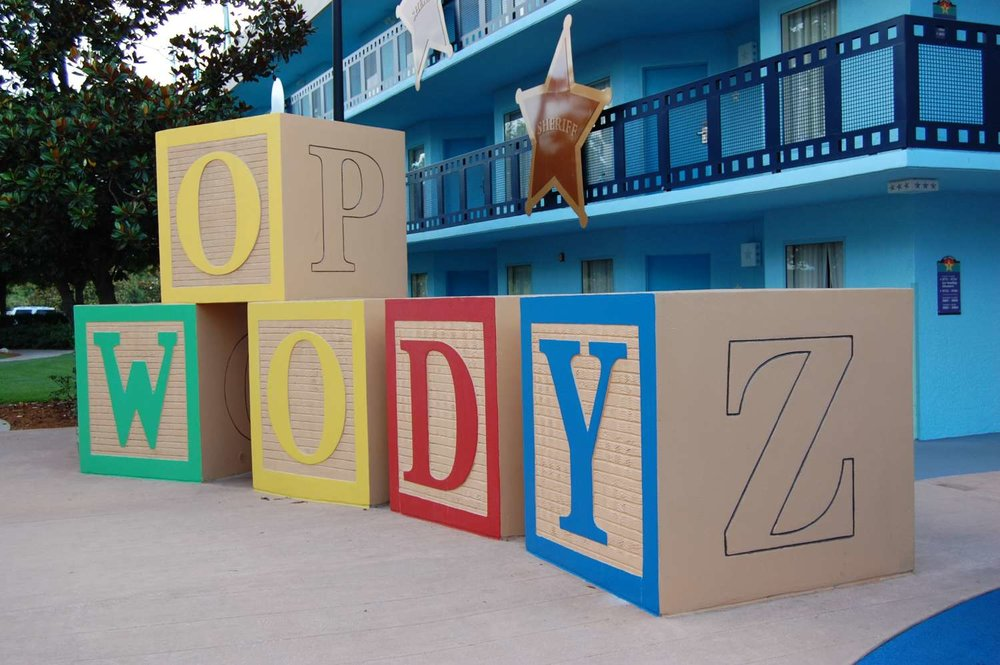 Woody blocks  at Disney's All-Star Movies Resort