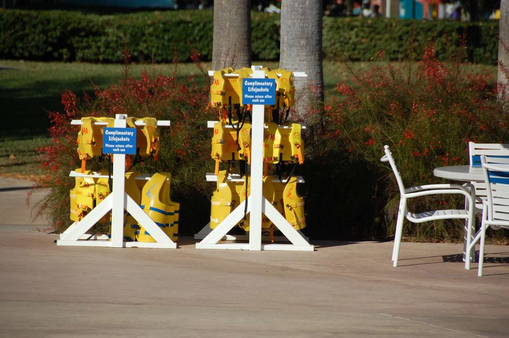 Complimentary life jackets available near the swimming pool  at Disney's All-Star Movies Resort
