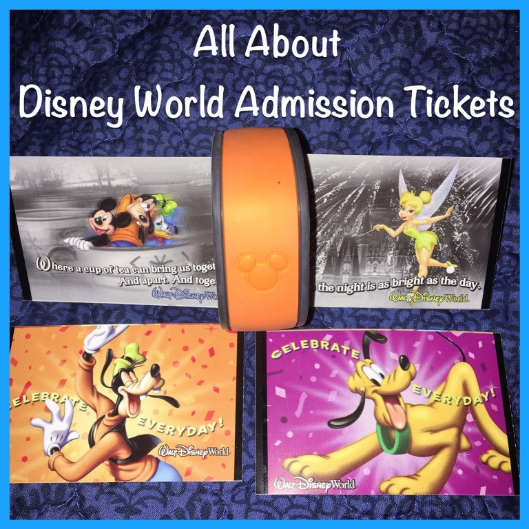 All about Disney World theme park admission tickets - basic tickets, Park Hopper and Water Park Fun and More options explained.