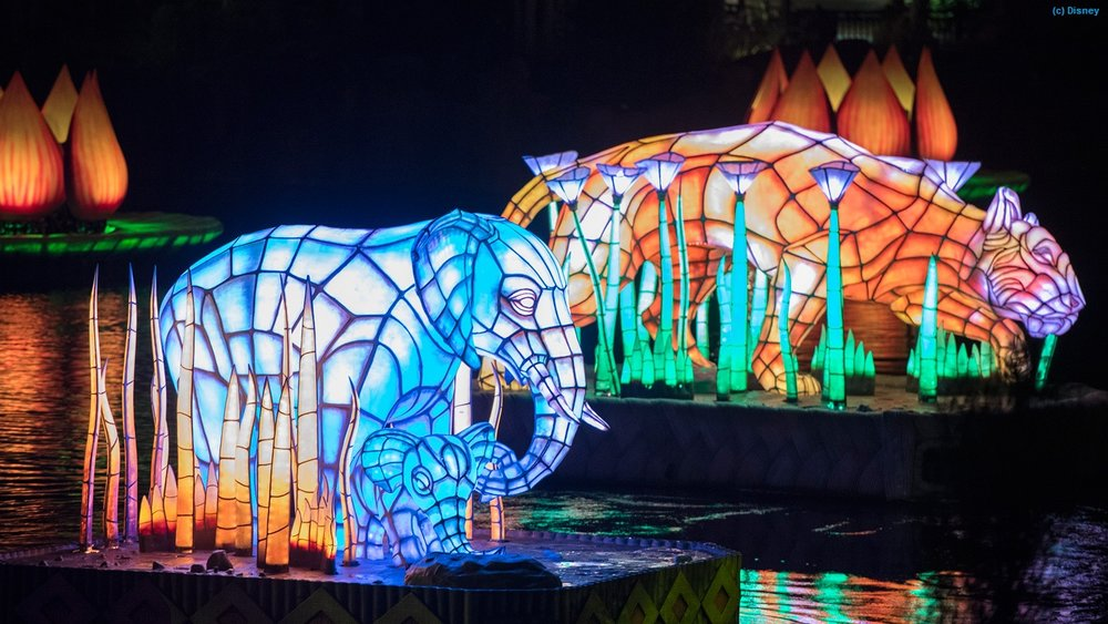 Elephants and tiger floats from the Rivers of Light nighttime spectacular at Disney's Animal Kingdom park.