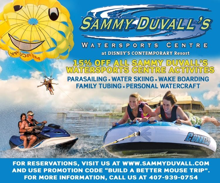 Sammy Duvall's Watersports Coupon - Save 15% on parasailing, water sking, wake boarding, family tubing, and personal watercraft rental from Sammy Duvall's Watersports Centre located at the marina at Disney's Contemporary Resort  / Walt Disney World Resort - Florida.