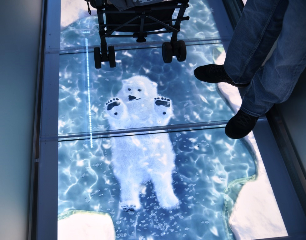 Polar Bears and Penguins appear to swim beneath your feet in the line to meet the Coca-Cola Polar Bear at the Coca-Cola Store located near the Planet Hollywood Observatory in Disney Springs / Walt Disney World Resort - Florida.