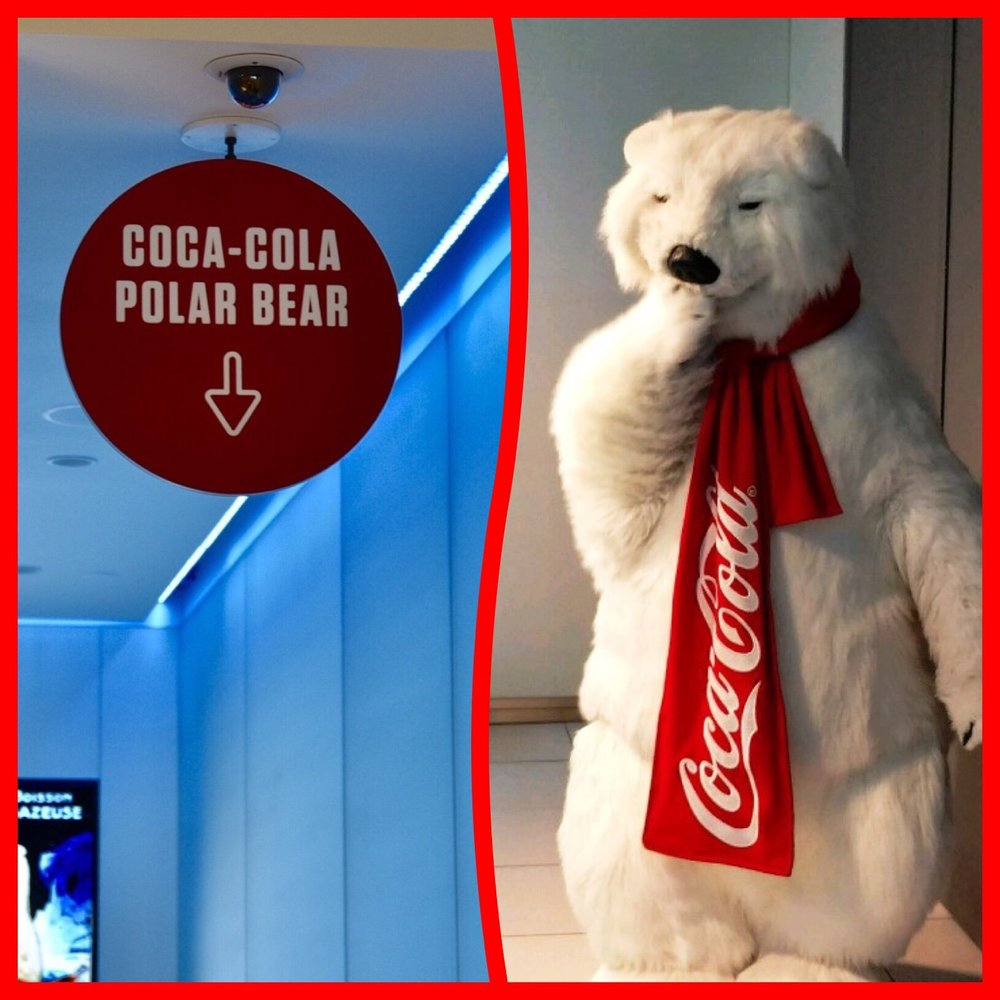 Meet the Coca-Cola Polar Bear (free activity) at the Coca-Cola Store located near the Planet Hollywood Observatory in Disney Springs / Walt Disney World Resort - Florida.