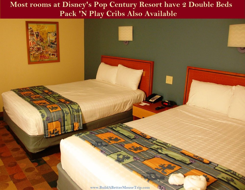 A standard room with two double beds at one of the Walt Disney World Resort value hotels. Rooms with one king bed and connecting rooms may also be available.