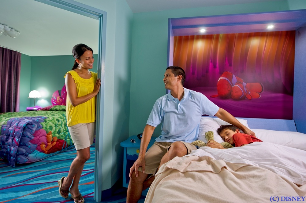 The family suites at Disney's Art of Animation resort can sleep up to six adults plus one baby in a crib.