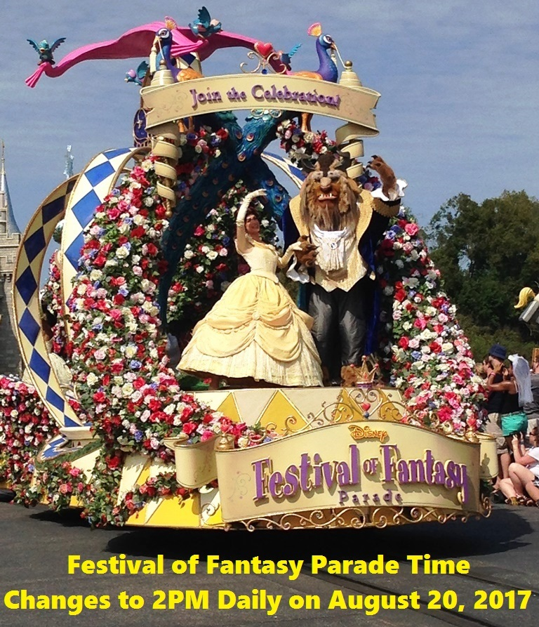 The Festival of Fantasy parade schedule changes from 3:00PM to 2:00PM daily on August 20, 2017 / Magic Kingdom - Walt Disney World Resort, Florida.