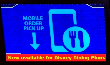 Disney Mobile Ordering now available  for Disney Dining Plans and Debit/Credit Card orders at many Disney World Quick-Service restaurants.