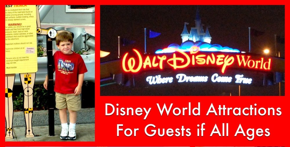 Disney World Rides and Attractions Appropriate for All Ages - Experiences the whole family can enjoy together Here is a list of Walt Disney World Resort rides, shows and attractions that can be enjoyed by young and old alike - includes Magic Kingdom, Epcot, Disney's Hollywood Studios, and Disney's Animal Kingdom theme parks.