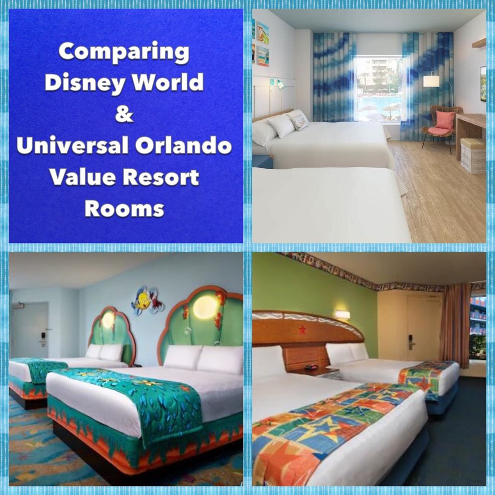 A comparison of Disney World and Universal Orlando Value Resort Rooms
