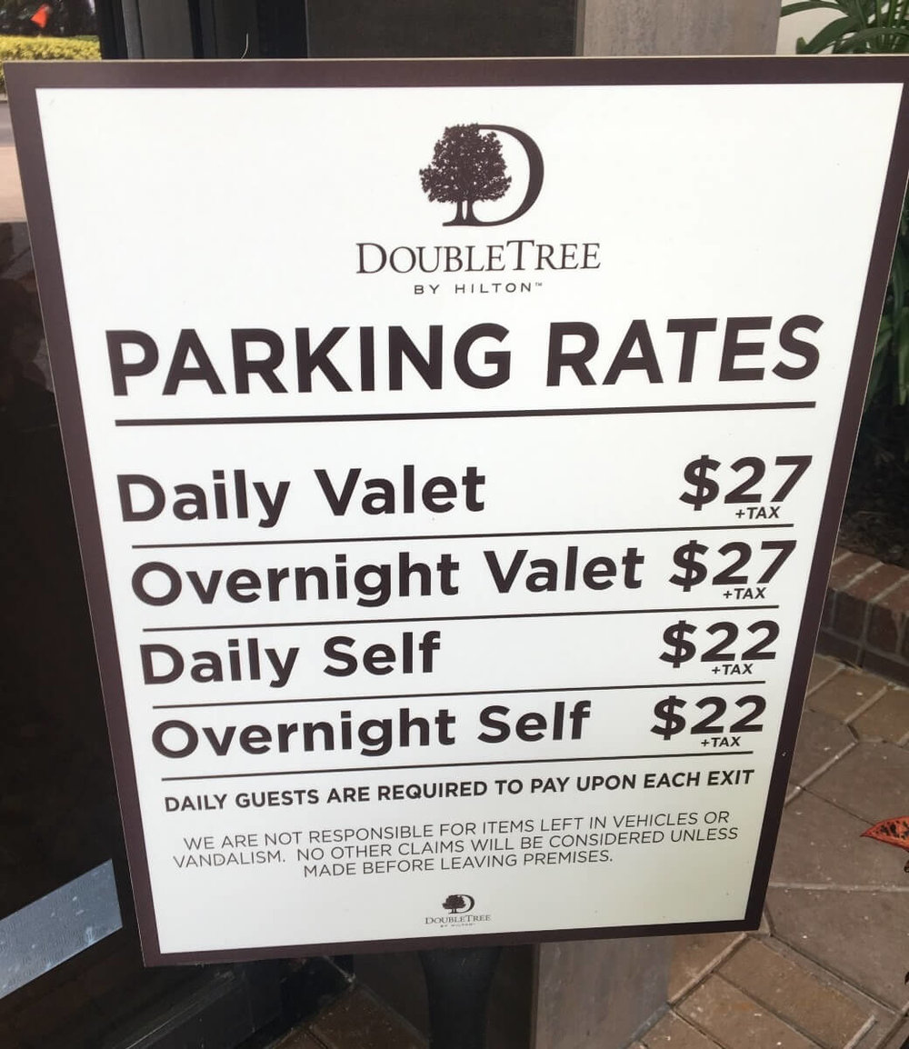 Parking rates as of September 2018 at DoubleTree by Hilton Orlando - Disney Springs Resort Area