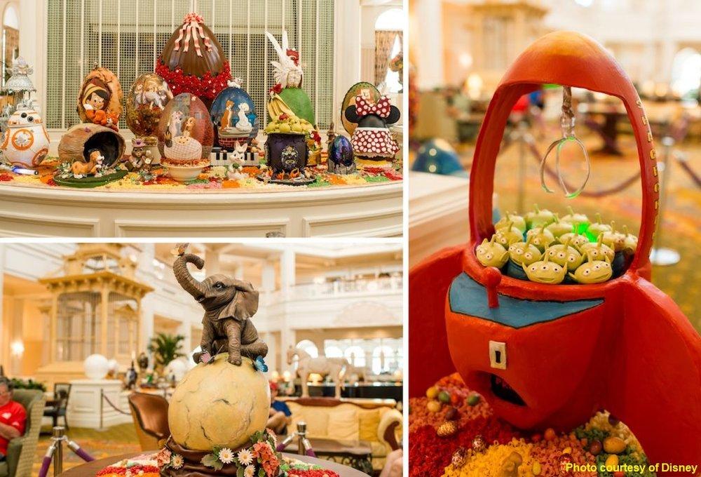 Easter egg displays at the Walt Disney World Resort Hotels - Grand Floridian, Disney's Yacht & Beach Club, Disney's BoardWalk Resort, and Disney's Contemporary Resort.