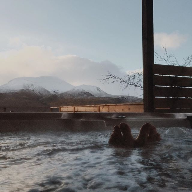 View from the hot tub:) #iceland #iPhone #hottub #mountains