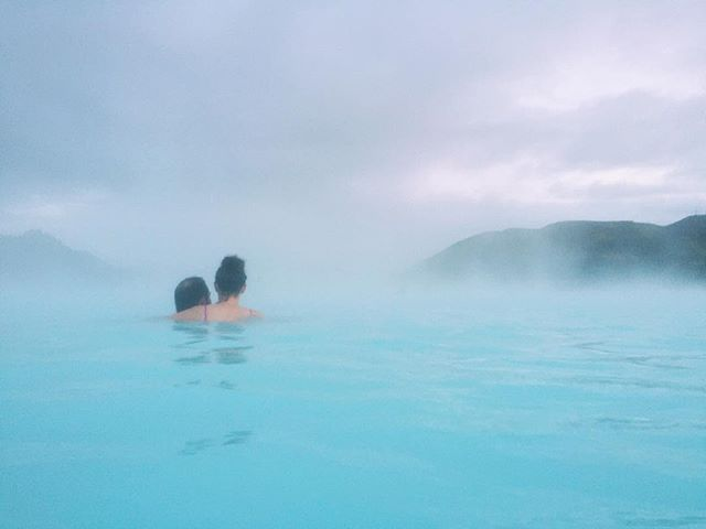 @lauralaloca84 and B, chilling in the blue lagoon #iceland #bluelagoon #iphone