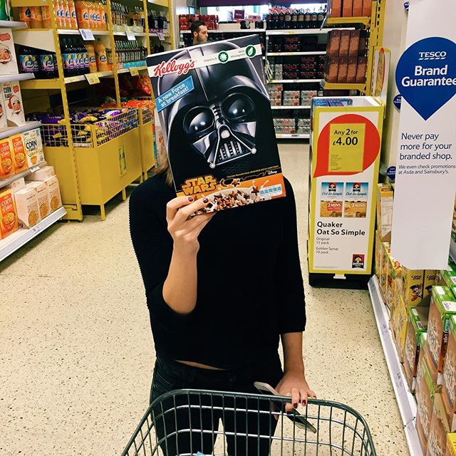 And this is why I love her:) #tesco #starwars #vader #cereal #shitcosplay