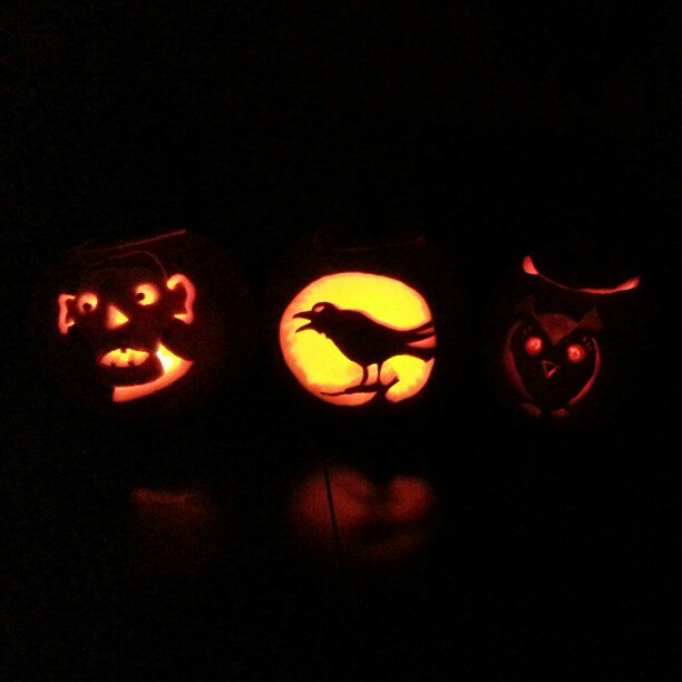 Punkin Calvin 2012. #pumpkincarving #pumpkin #crow #owl (Taken with Instagram)