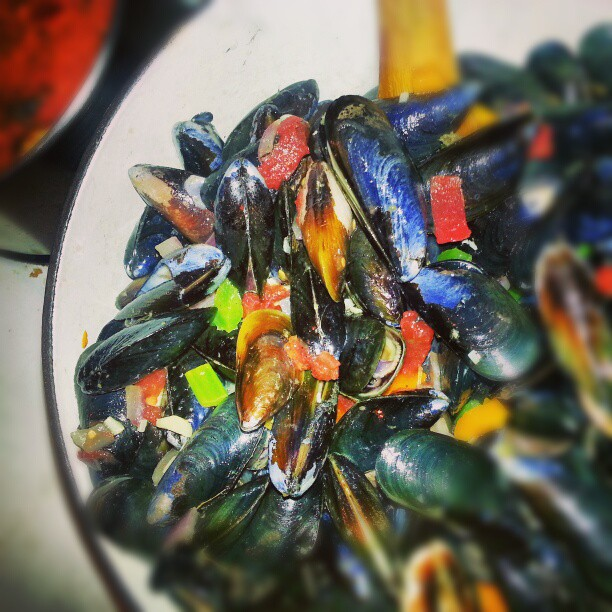 Mom's famous Mussels for Christmas Eve Dinner.