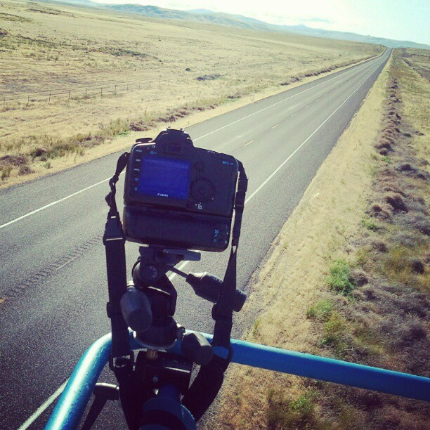 Creating some funky perspective up her with my 24mm tilf shift. #camera #road #50ftInTheAir #highway (Taken with Instagram at Hanford Nuclear Reservation)