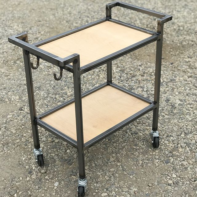 This is the first project to leave my shop in several months because it's also the first time I've actually been able to spend any time there in several months. A simple, raw mild steel coffee caddy. Very pleased with the way my welding had progressed in this short time. #welding #woodwprking #venturacounty #steel #coffee #cart